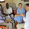 Jeff interviewing new hire nurse Silas (left), together with Kamba (Logistics Officer) and Kitty (Nurse Administrator)