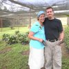 J & E together, out for Jeff's birthday... in a coffee tree nursery!